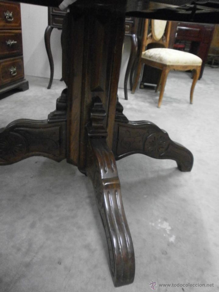 Antigüedades: Antigua mesa redonda - Isabelina - de comedor - extensible - madera de nogal - siglo XIX - Foto 3 - 53717507