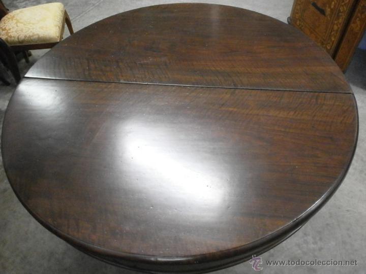 Antigüedades: Antigua mesa redonda - Isabelina - de comedor - extensible - madera de nogal - siglo XIX - Foto 5 - 53717507