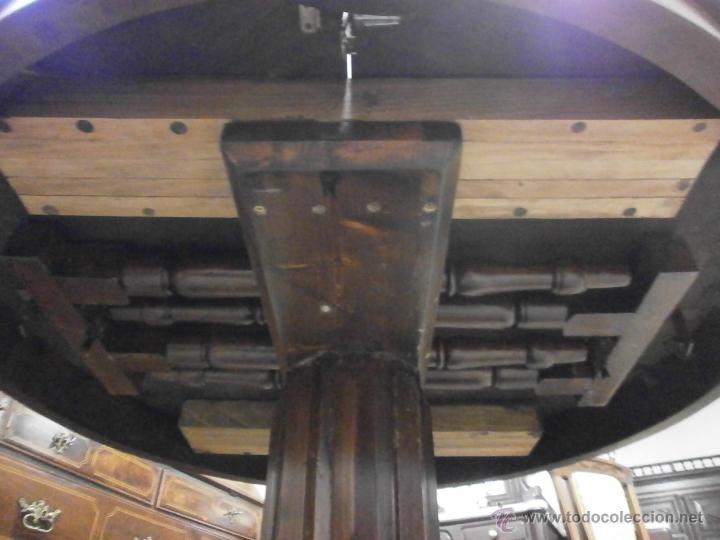 Antigüedades: Antigua mesa redonda - Isabelina - de comedor - extensible - madera de nogal - siglo XIX - Foto 7 - 53717507