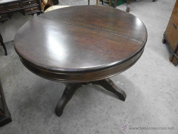 Antigüedades: Antigua mesa redonda - Isabelina - de comedor - extensible - madera de nogal - siglo XIX - Foto 9 - 53717507