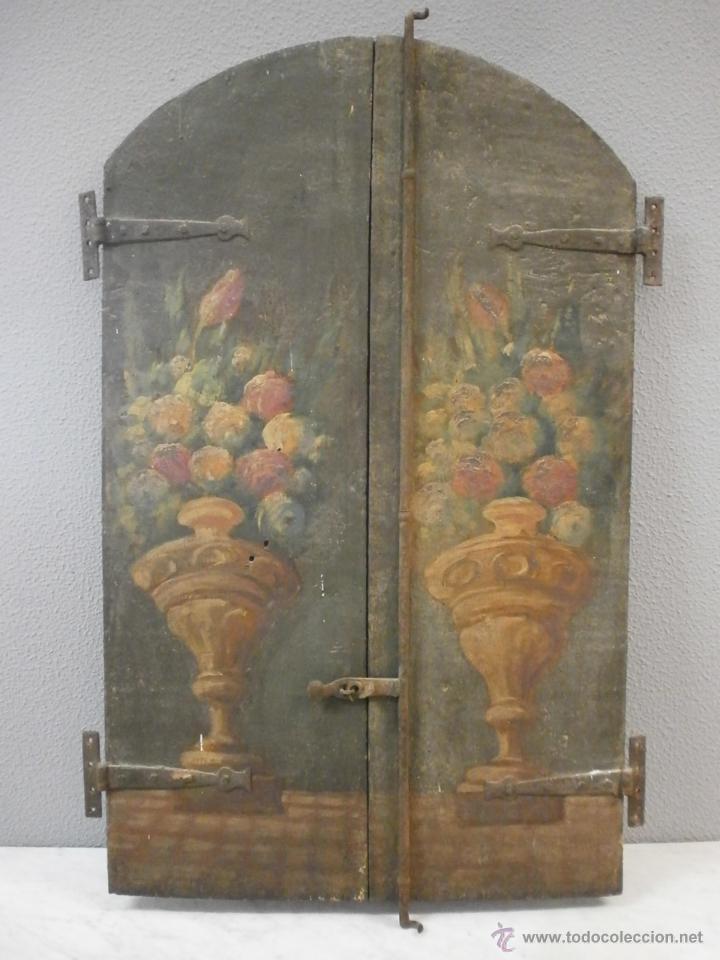 ANTIGUA PAREJA DE PUERTAS - BARROCAS - POLICROMADAS DOS CARAS - SIGLO XVIII - CAPILLA ETC... (Antigüedades - Muebles Antiguos - Armarios Antiguos)
