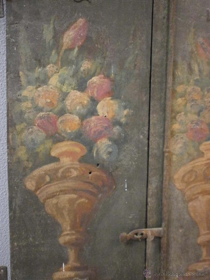 Antigüedades: Antigua pareja de puertas - Barrocas - policromadas dos caras - siglo XVIII - capilla etc... - Foto 2 - 51488214