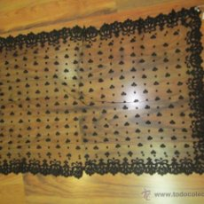 Antigüedades: ANTIGUA MANTILLA DE ENCAJE NEGRO, RECTANGULAR. MEDIDA: 101 X 64 CMS.. Lote 51526620