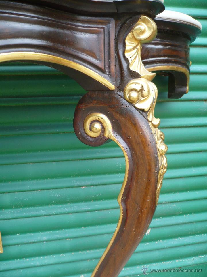 Antigüedades: Consola de pared Isabelina de nogal y dorada con mármol - Foto 4 - 51544168