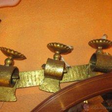 Antigüedades: APLIQUE DE HIERRO TRES LUCES. Lote 51545381
