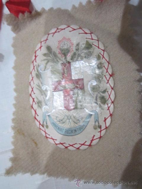 Antigüedades: Antiguo escapulario de tela, Apostolado de la Oración, Pío IX 14 julio 1877. - Foto 4 - 51555821