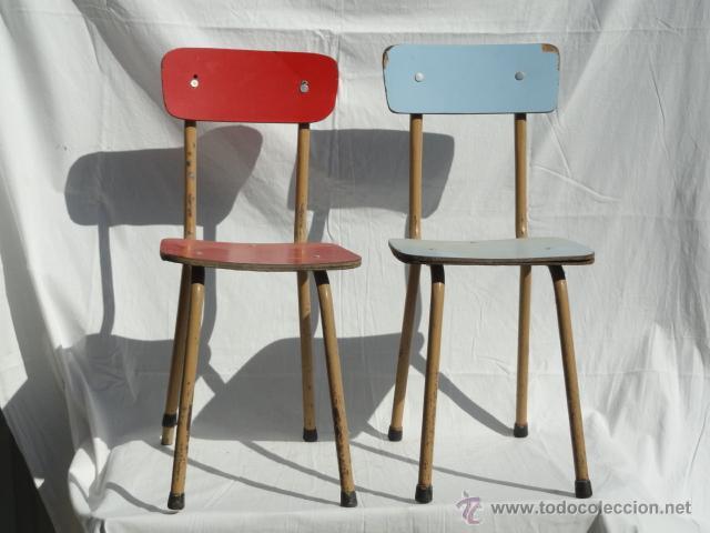 Pareja de sillas de f rmica para ni os peque os comprar sillas antiguas en todocoleccion - Sillas formica ...