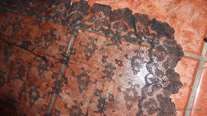 Antigüedades: antigua fina mantellina mantilla negra 92 cm / 50 - Foto 2 - 120096170