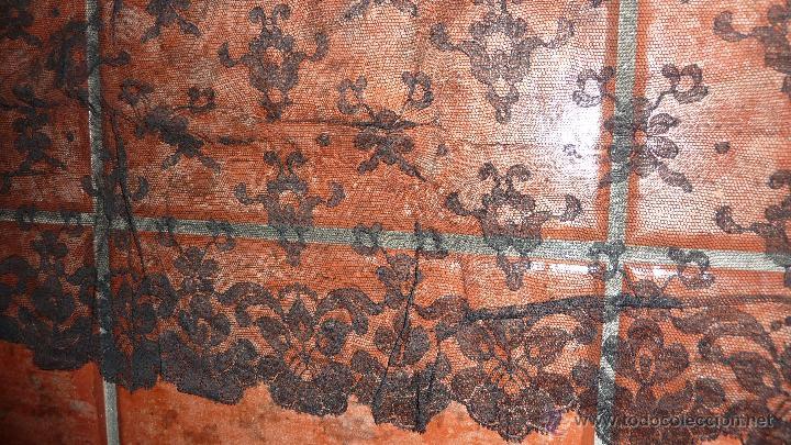 Antigüedades: antigua fina mantellina mantilla negra 92 cm / 50 - Foto 3 - 120096170