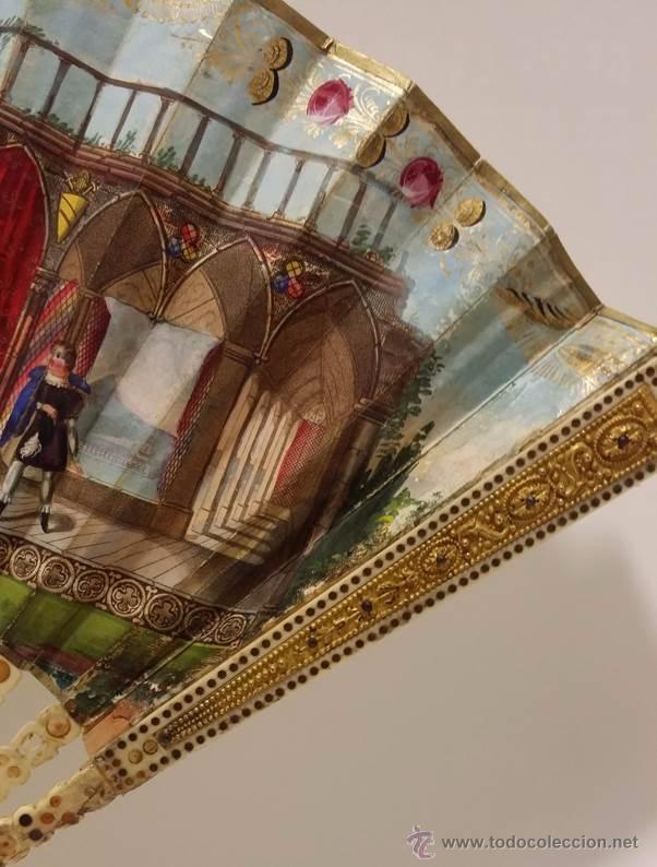 Antigüedades: ANTIGUO Y BONITO ABANICO VARILLAJE TALLADO EN HUESO Y MARFIL PAIS DE PAPEL- S.XIX - Foto 3 - 51606489
