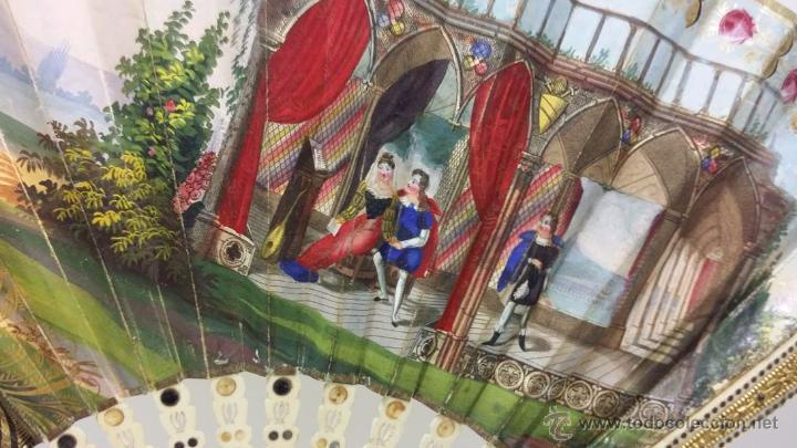 Antigüedades: ANTIGUO Y BONITO ABANICO VARILLAJE TALLADO EN HUESO Y MARFIL PAIS DE PAPEL- S.XIX - Foto 5 - 51606489