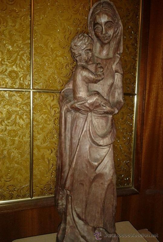 Antigüedades: ANTIGUA TALLA DE MADERA MACIZA DE PRINCIPIOS SIGLO XX DE UNA PRECIOSA VIRGEN CON NIÑO - Foto 2 - 51608441