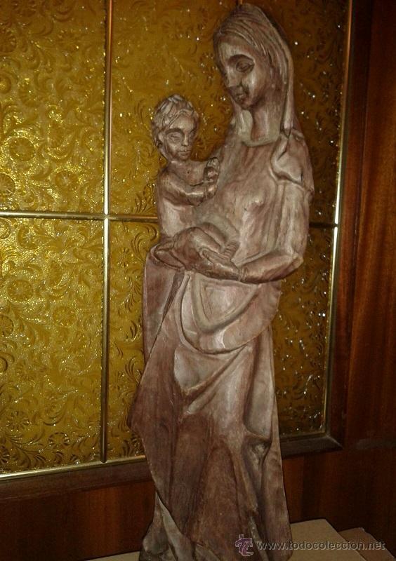 Antigüedades: ANTIGUA TALLA DE MADERA MACIZA DE PRINCIPIOS SIGLO XX DE UNA PRECIOSA VIRGEN CON NIÑO - Foto 3 - 51608441