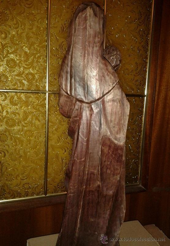 Antigüedades: ANTIGUA TALLA DE MADERA MACIZA DE PRINCIPIOS SIGLO XX DE UNA PRECIOSA VIRGEN CON NIÑO - Foto 4 - 51608441