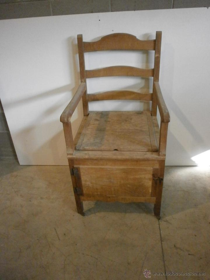 Antigüedades: Curioso sillón lavabo - rustico - con ruedas - madera de ribera - pieza de colección - siglo XIX - Foto 2 - 51609177