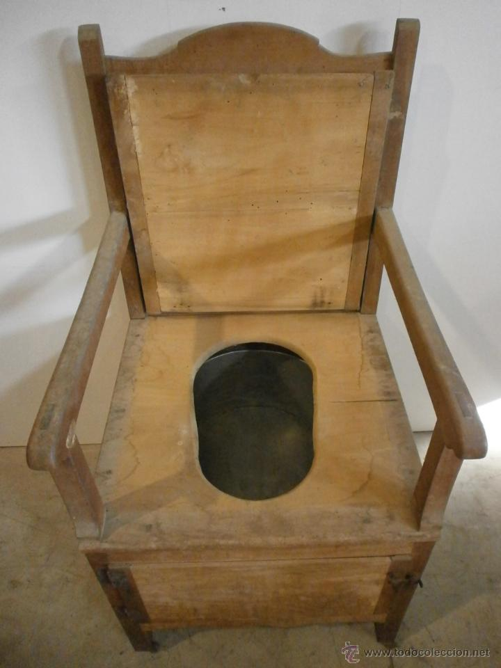 Antigüedades: Curioso sillón lavabo - rustico - con ruedas - madera de ribera - pieza de colección - siglo XIX - Foto 3 - 51609177