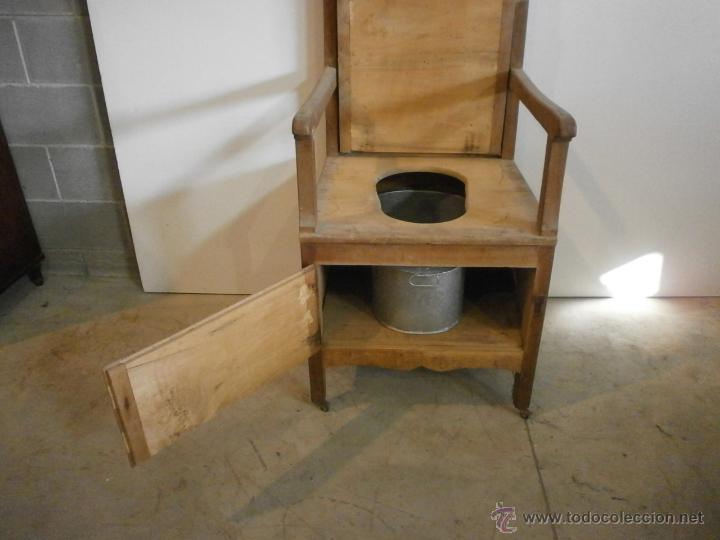 Antigüedades: Curioso sillón lavabo - rustico - con ruedas - madera de ribera - pieza de colección - siglo XIX - Foto 4 - 51609177
