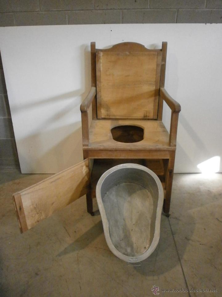 Antigüedades: Curioso sillón lavabo - rustico - con ruedas - madera de ribera - pieza de colección - siglo XIX - Foto 5 - 51609177