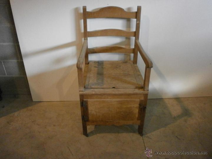 Antigüedades: Curioso sillón lavabo - rustico - con ruedas - madera de ribera - pieza de colección - siglo XIX - Foto 6 - 51609177