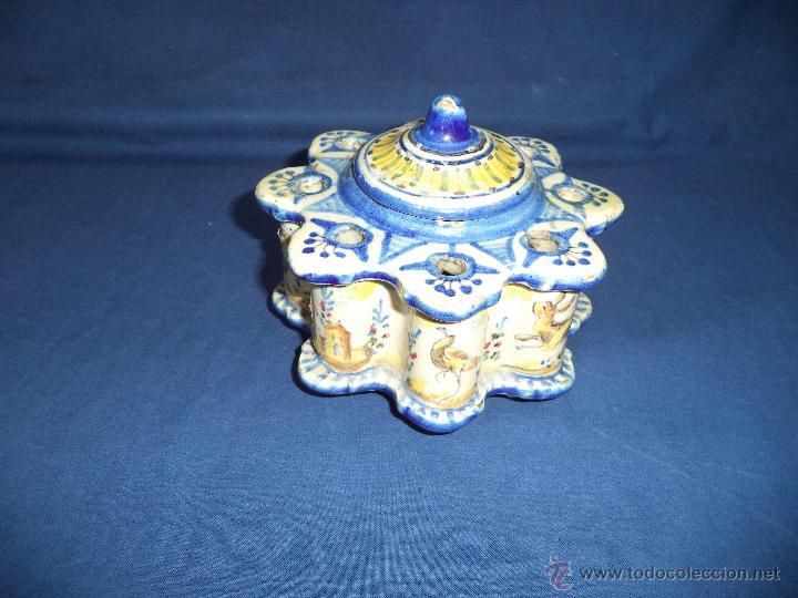 TINTERO EN CERAMICA TALAVERA?, SEC XIX (Antigüedades - Porcelanas y Cerámicas - Talavera)