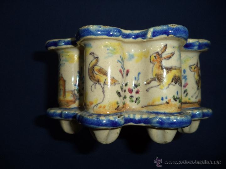 Antigüedades: Tintero en ceramica Talavera?, Sec XIX - Foto 4 - 51629027