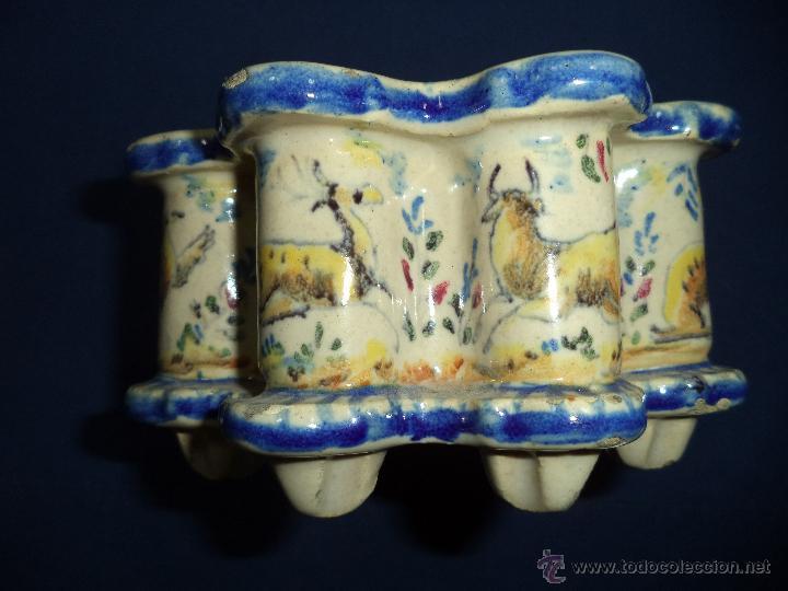 Antigüedades: Tintero en ceramica Talavera?, Sec XIX - Foto 8 - 51629027