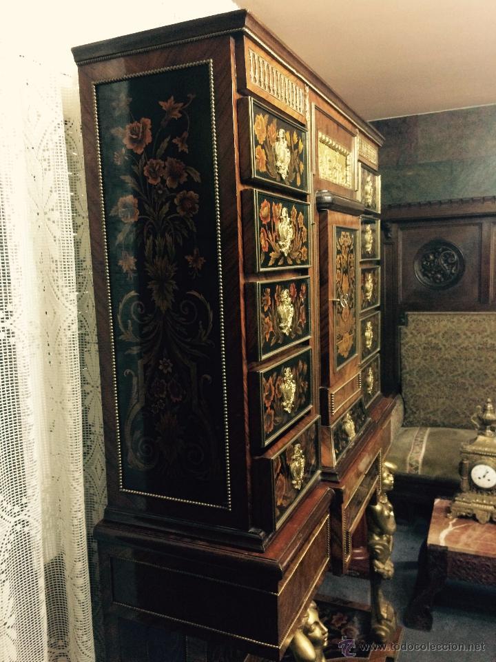Antigüedades: MUEBLE APARADOR DE MADERA, MARQUETERÍA Y BRONCE - Foto 7 - 56583033