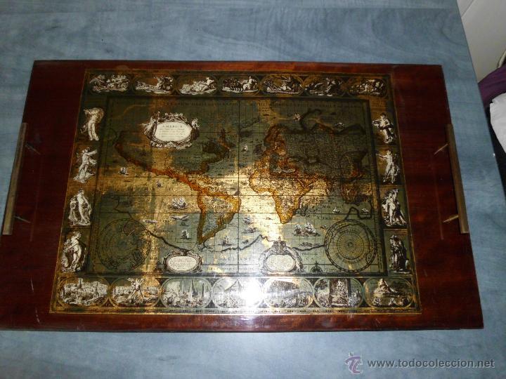 BANDEJA CARTOGRAFIA MAPAMUNDI DE WILLEN BLAEU 1606 (Antigüedades - Hogar y Decoración - Bandejas Antiguas)