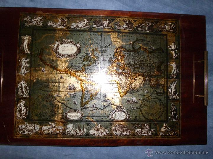 Antigüedades: Bandeja cartografia mapamundi de willen blaeu 1606 - Foto 2 - 51648247