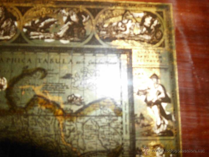 Antigüedades: Bandeja cartografia mapamundi de willen blaeu 1606 - Foto 5 - 51648247