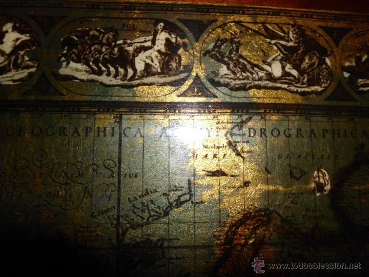 Antigüedades: Bandeja cartografia mapamundi de willen blaeu 1606 - Foto 6 - 51648247
