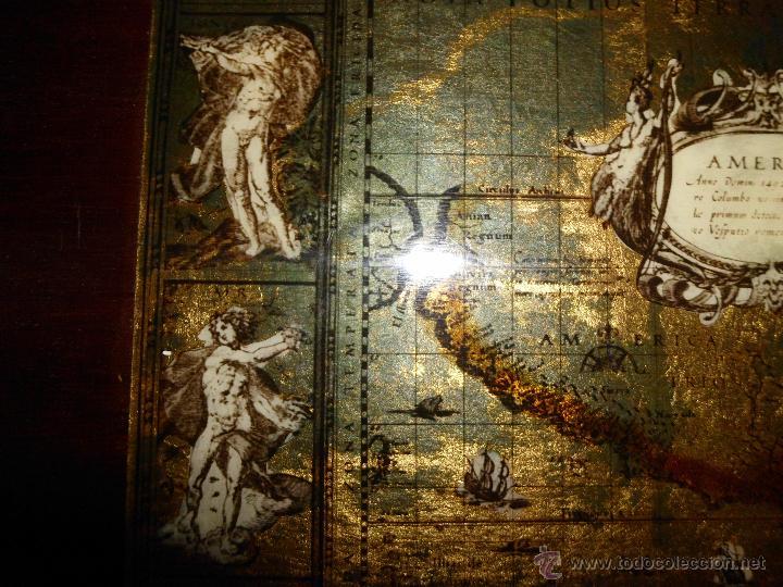 Antigüedades: Bandeja cartografia mapamundi de willen blaeu 1606 - Foto 7 - 51648247