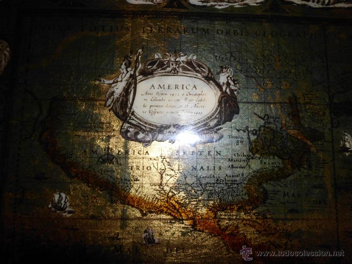 Antigüedades: Bandeja cartografia mapamundi de willen blaeu 1606 - Foto 9 - 51648247