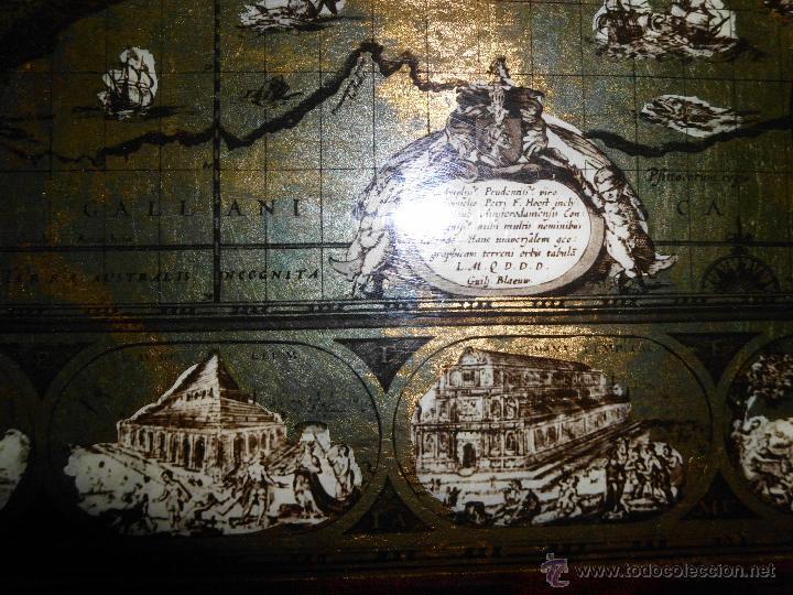 Antigüedades: Bandeja cartografia mapamundi de willen blaeu 1606 - Foto 10 - 51648247