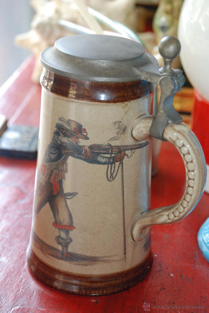 ANTIGUA JARRA DE CERVEZA DE PORCELANA ALEMANA (Antigüedades - Porcelana y Cerámica - Alemana - Meissen)