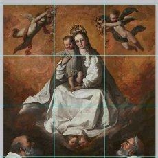 Antigüedades: PRECIOSO RETABLO DE 12 AZULEJOS 15X15 DE LA VIRGEN DE LA MERCED. Lote 144908318