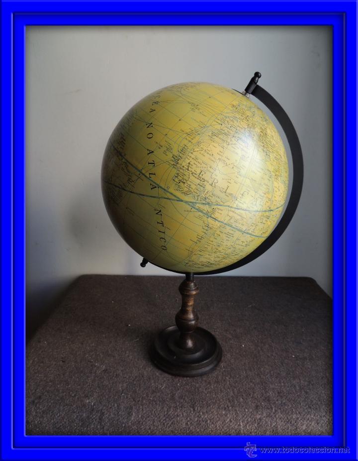 Bola del mundo globo terraqueo con pie de mader comprar en todocoleccion 64527430 - Bola del mundo decoracion ...