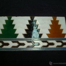 Antigüedades: MENSAQUE AZULEJOS DE TRIANA SEVILLA RODRIGUEZ Y CIA 14X28 PARA ENMARCAR. Lote 51675996