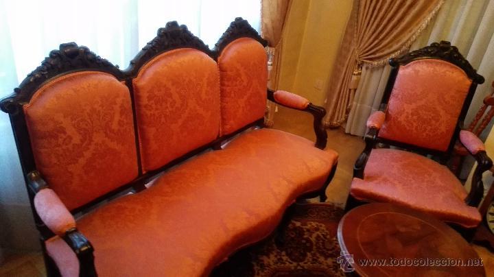 Antigüedades: Tresillo y dos sillones estilo isabelino - Foto 2 - 51697237