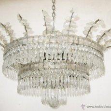 Antigüedades: EXCEPCIONAL ELEGANTE GRAN LAMPARA ANTIGUA CRISTAL BOHEMIA AÑOS 30 SALON VIP. Lote 51716600
