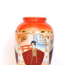 Antigüedades: JARRON DE PORCELANA JAPONESA SATSUMA, DE LA CASA EIHO, DIBUJOS EN RELIEVE Y A MANO. Lote 51720797
