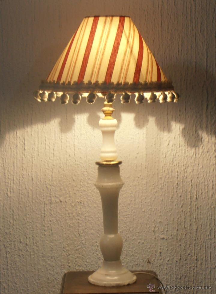 Lampara de mesa con pie de alabastro comprar l mparas antiguas en todocoleccion 51720844 - Lampara de pie con mesa ...