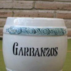 Antigüedades: BOTE O TARRO PORCELANA ANTIGUO DE COCINA - GARBANZOS.. Lote 51731488