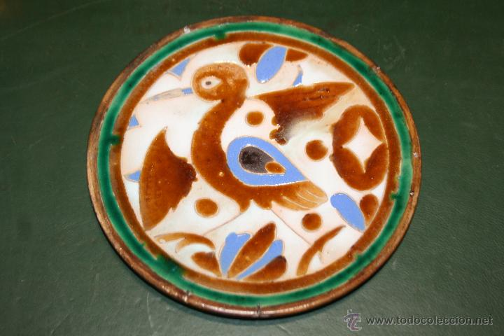 EXCEPCIONAL PLATO DE CUERDA SECA DE MENSAQUE HERMANO Y COMPAÑIA TRIANA SEVILLA S.XIX (Antigüedades - Porcelanas y Cerámicas - Triana)