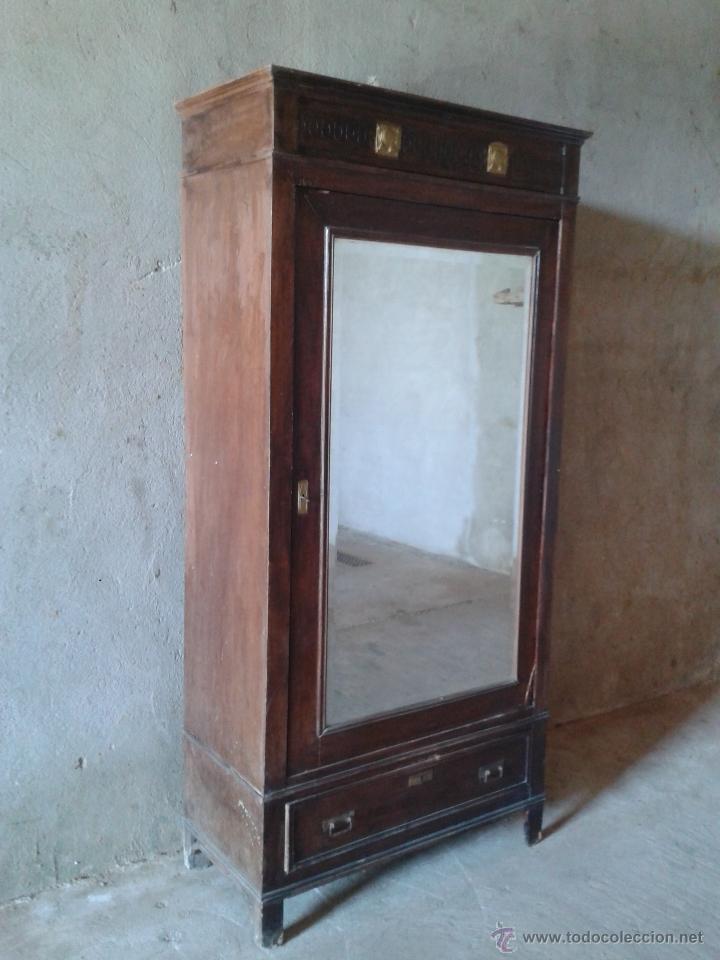 Antigüedades: armario antiguo estilo modernista art deco nouveau armario ropero francés con espejo retro vintage - Foto 2 - 51768370