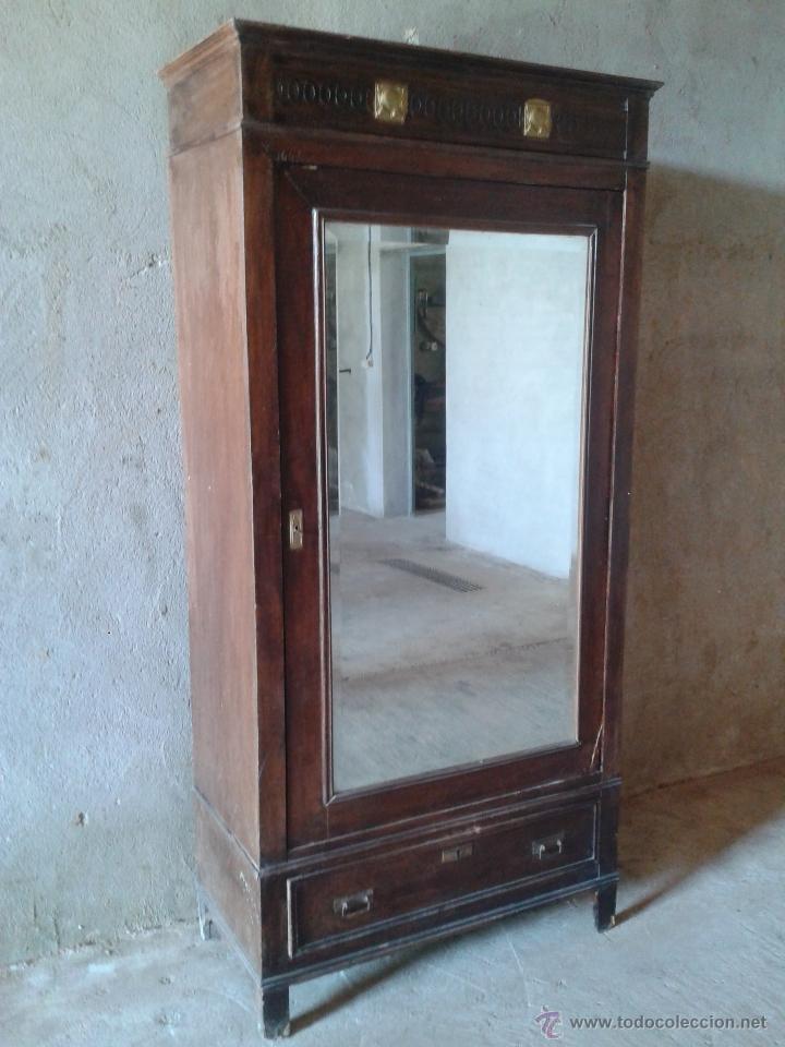 Antigüedades: armario antiguo estilo modernista art deco nouveau armario ropero francés con espejo retro vintage - Foto 5 - 51768370