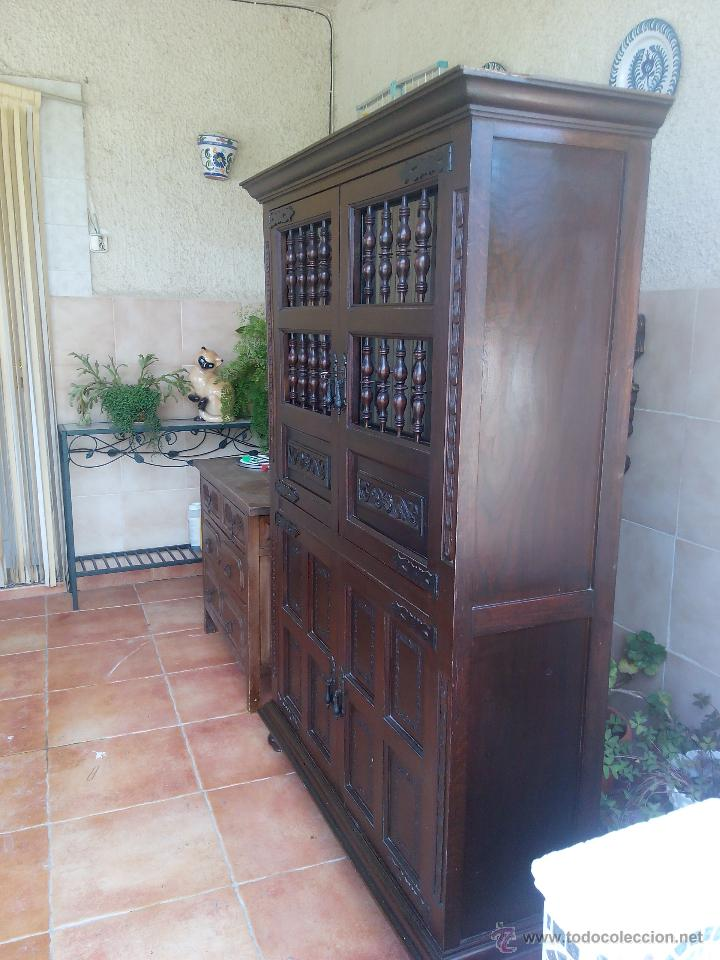 Antiguo mueble aparador alto castellano talla comprar for Mueble 50 cm alto