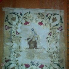 Antigüedades: ESPECTACULAR BORDADO SIGLO XIX VIRGEN DEL CARMEN 52 X 43 CM. Lote 51773836