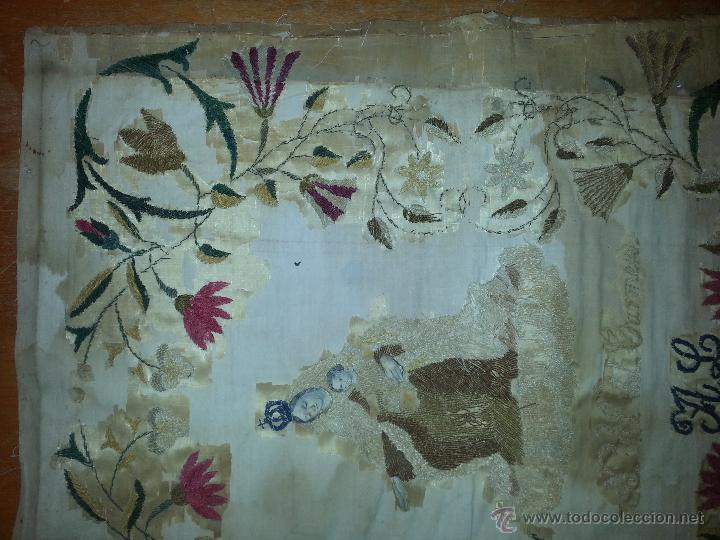 Antigüedades: ESPECTACULAR BORDADO SIGLO XIX VIRGEN DEL CARMEN 52 X 43 CM - Foto 5 - 51773836