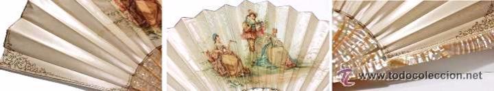 Antigüedades: ANTIGUO ABANICO EPOCA ISABELINA VARILLAJE EN NACAR PAIS SEDA ESCENA GALANTE DECORADO A MANO- S.XIX - Foto 6 - 51389397